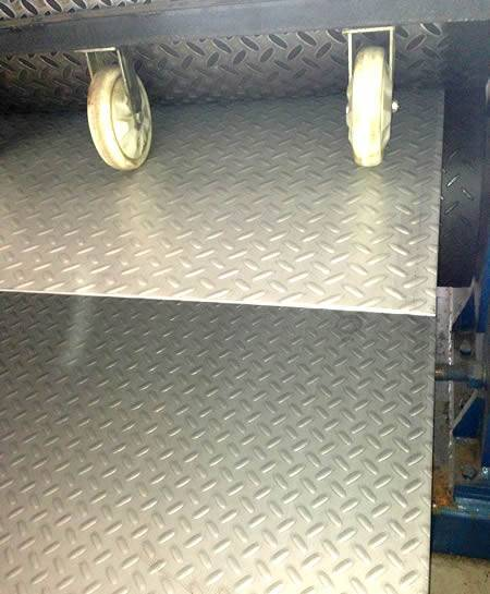 A tread plate is made of stainless steel checker plate with raised projections.