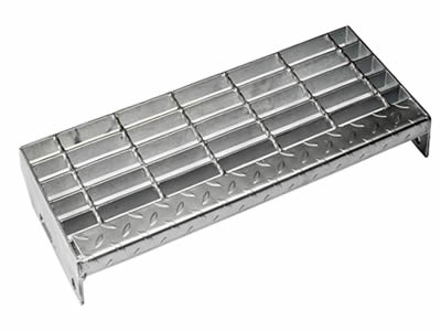 A galvanized stair tread steel grating with checker plate nosing.